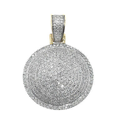 Solid 10K Yellow Gold Dome Round Circle Real SI1 Diamond Pendant Charm 0. 66 CT Gold Round Dome Pendant