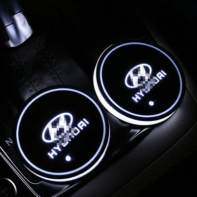 2PCS Colorful LED Car Cup Holder Pad for Hyundai Auto Interior Atmosphere Lights