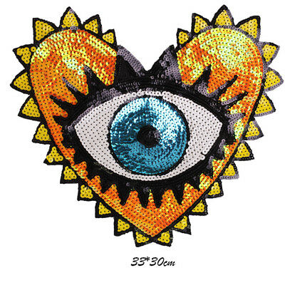 Patch for Clothes Punk Heart Eye Sequins Patches Clothing Stickers  - Heart Eye Patch