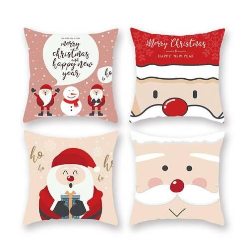 Christmas Pillow Case Xmas Cushion Cover Home Decor Cotton S