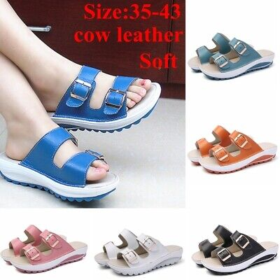 Summer Women Shoes Casual Sandals Genuine Leather Sandals Beach Slipper Peep Toe