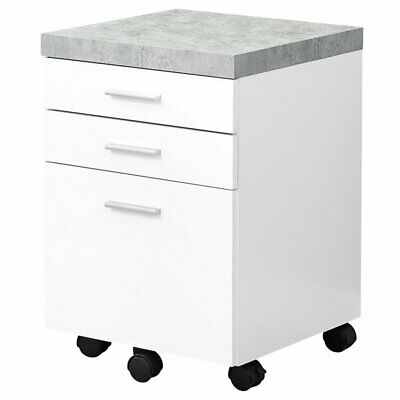 Monarch 3 Drawer File Cabinet On Castor In White And Gray Cement