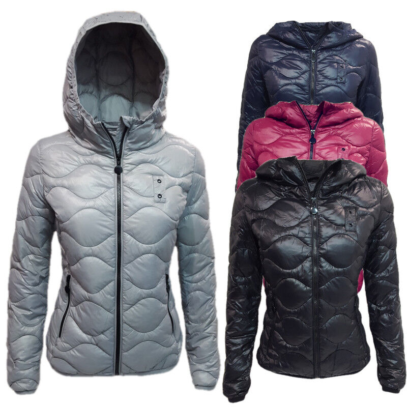 giubbino donna piumino 100 gr giacca giubbotto slim cappuccio invernale