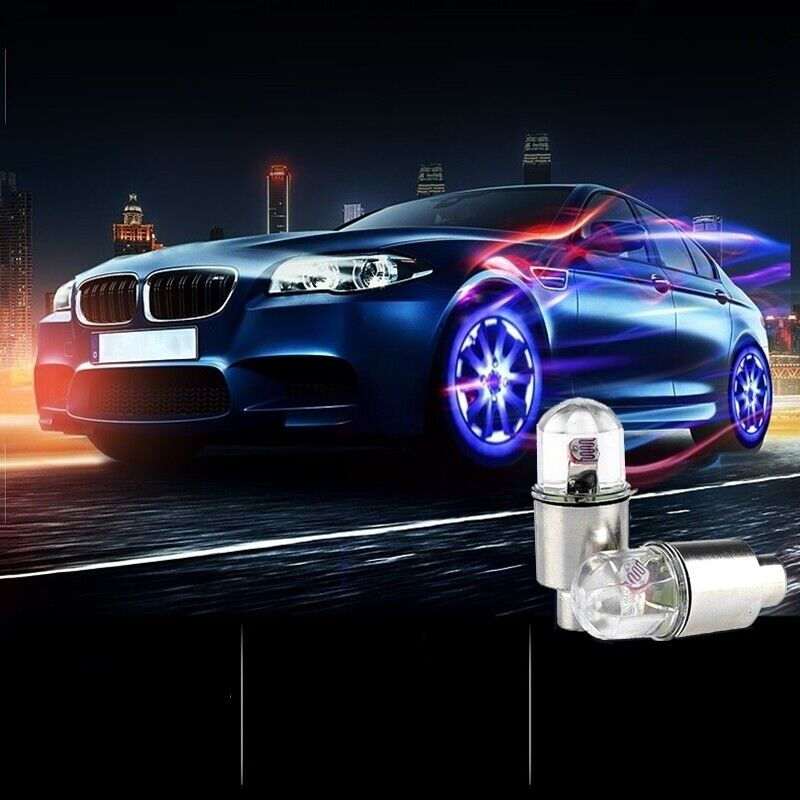 4x Auto Motorcycle Wheel Tire Tyre Valve Cap Spoke Neon LED Flash Light Lamp us