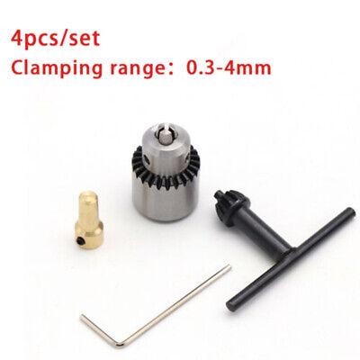 4pcs Mini 0.3-4mm Cirio Montado Torno Eléctrico Portabrocas + Llave + Chuck