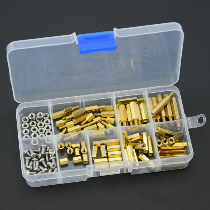 120Pcs M3 Male Female Brass Standoff Spacer PCB Board Hex Screws Nut Assortment