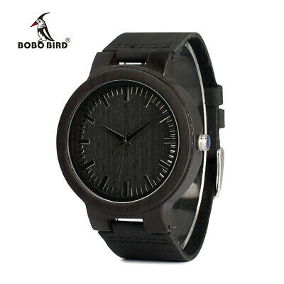 BOBO BIRD Luxury Real Leather Wooden Watches Black Friday Gifts For Him Men Box