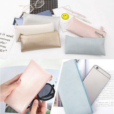 Pencil Case PU Leather Zipped Pen Bag Cosmetic Storage Boy G
