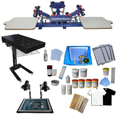 4 Color 2 Station Screen Printing Press Flash Dryer Exposure Unit T-shirt Print