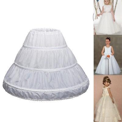 Children Kids Girl Petticoat Pannier Skirt 3 Hoops Wedding Dress Party](Girls Petticoat)