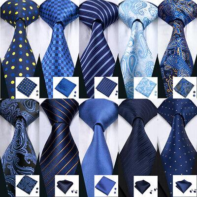 Blue Striped Woven Necktie (USA Blue Silk Tie Set Striped Checks Paisley 50 Styles Woven Necktie Lot)