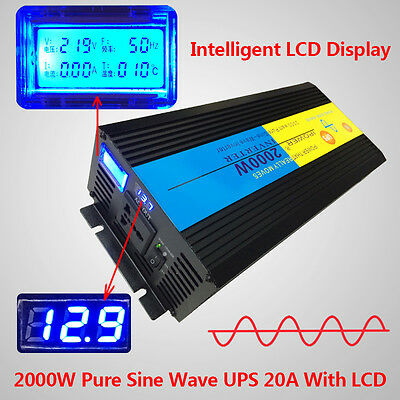 2000W 4000W PEAK Pure Sine Wave Power Inverter 12V DC to 230V AC LCD/UPS/Charger