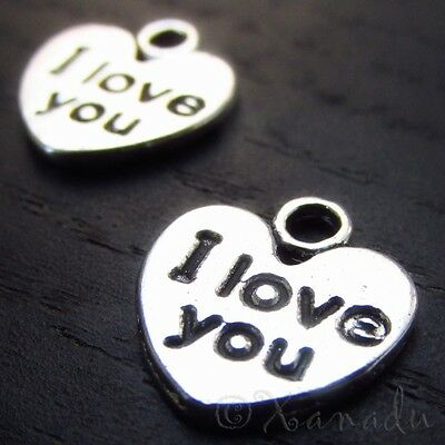 I Love You Heart Charms Wholesale Affirmation Pendants C5350 - 10, 20 Or - Affirmation Pendant Charms