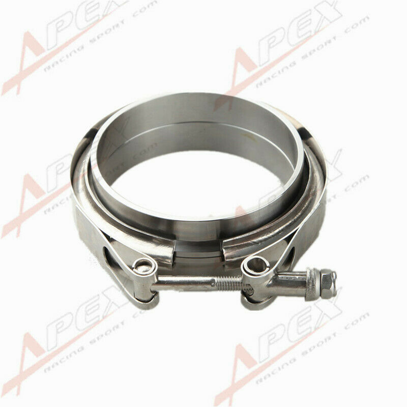 3.5 V-Band Flange /& Clamp Kit Fits Turbo Exhaust Downpipes Stainless Steel