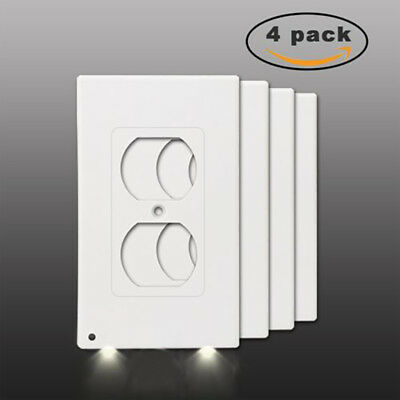 4 PACK Duplex Night Angel Light Sensor LED Plug Cover Wall Outlet Coverplate USA](Bulk Night Lights)