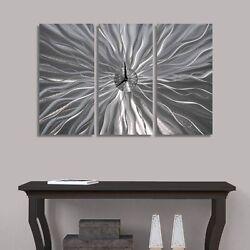 Statements2000 Modern 3D Metal Wall Clock Art Abstract Silver Decor Jon Allen