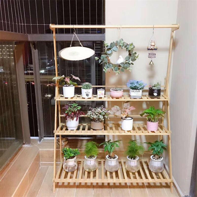 Wooden Plant Stand Indoor Outdoor Patio Garden Planter Flowe