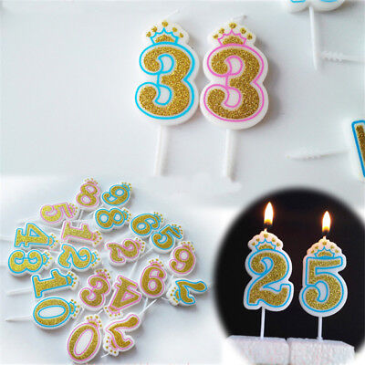 Number Candles (0-9 Glitter Number Candles Happy Birthday Party Decoration Cake Cupcake)