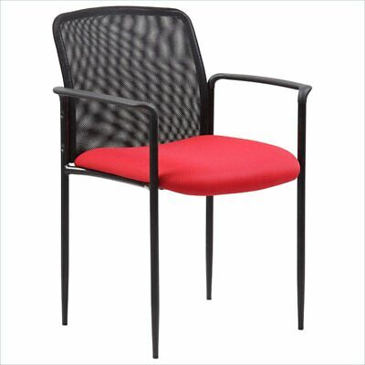 Boss Office Stackable Mesh Guest Chair In Red