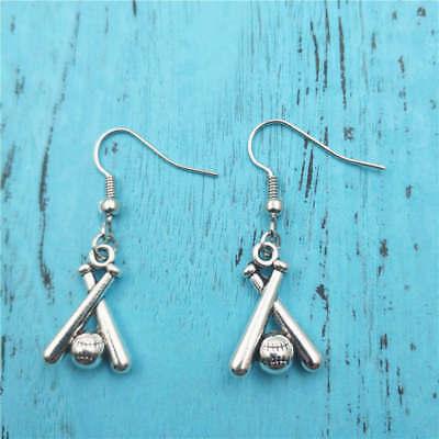 Baseball Bat Earrings (baseball bat Silver earrings,women Fashion pendants jewelry handmade ear)