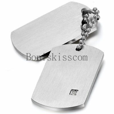 Stainless Steel Military Army  Dog Tags Men Pendant Necklace with Free Engraving](Military Dog Tags For Men)