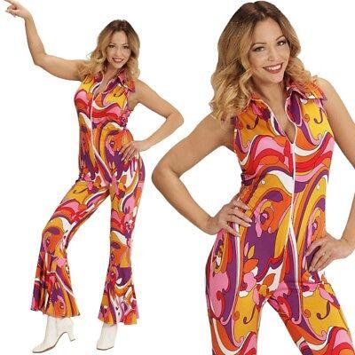 70er Disco Girl Overall mit Schlag 42/44 -L- Damen Kostüm Hippie Jumpsuit  #8943 (70er Disco Girl Kostüm)