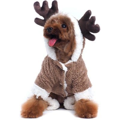 Pet Puppy Dog Christmas Clothes Reindeer Costume Coat Apparel Hoodie Xmas Gift (Dog Christmas Costumes)