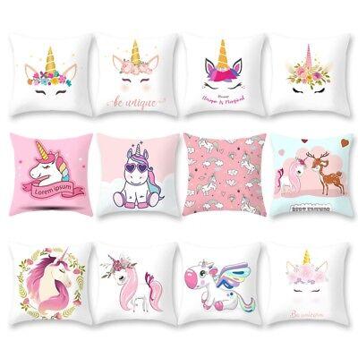 Unicorn Pillow (Cartoon Unicorn Print Sofa Cushion Cover Throw Pillow Case Home Decor)