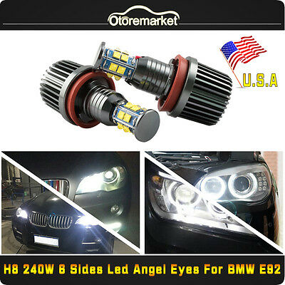 CREE 6-Side LED Light 240W H8 Angel Eyes Halo Ring For BMW E60 E61 E90 E92 USA - Light Rings