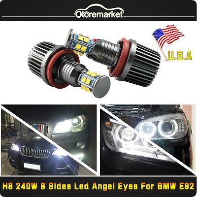 CREE 6-Side LED Light 240W H8 Angel Eyes Halo Ring For BMW E60 E61 E90 E92 USA
