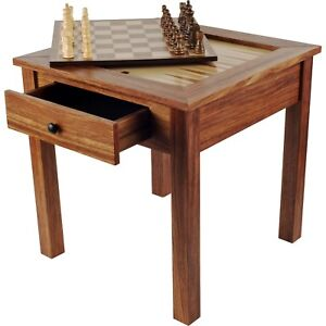 Wooden Chess Backgammon Checkers Table 19 Inches