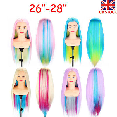 """26''-28"""" Colorful Hair Mannequin Doll Training Head Styling Hairdressing UK Ship"""