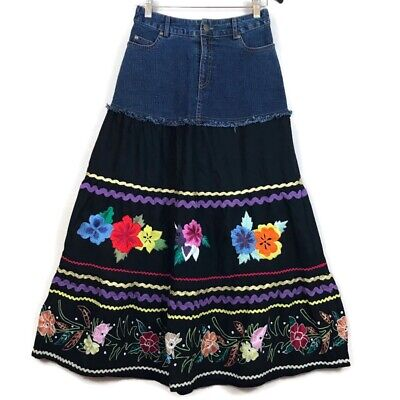 Soft Surroundings Denim & Black Embroidered Maxi Skirt Size Petite XS Size 0 Spring Embroidered Skirt
