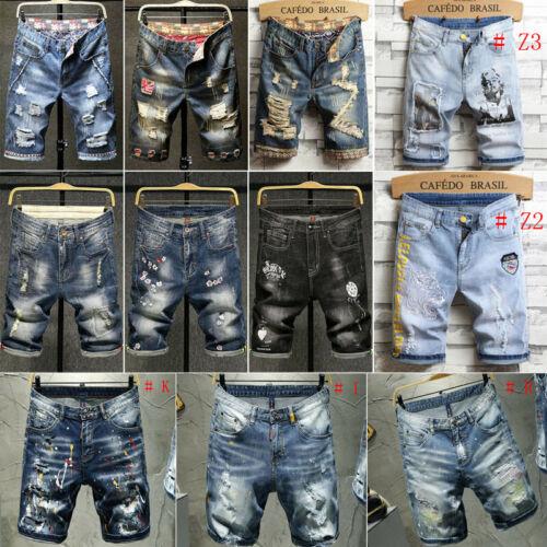 Men Denim Shorts Men Shorts Short Jeans Ripped Jeans Rip Short Pant Midi Jeans