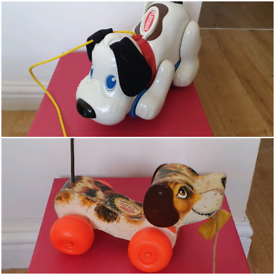 Vintage toys pull along dog puppy by Fisher Price & Playskool (barks)