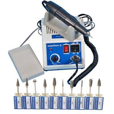 Dental Lab Marathon Electric Micromotor Polisher 35k Rpm Handpiece 10 Drills U