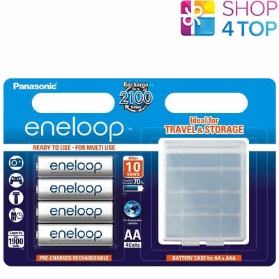 Aa Panasonic Batteries Case - 4 PANASONIC ENELOOP RECHARGEABLE AA HR6 BATTERIES STORAGE CASE 1.2V 2000mAh NEW