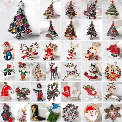 Fashion Christmas Tree Deer Bell Snowman Enamel Brooch Pin Xmas Party Jewelry ()