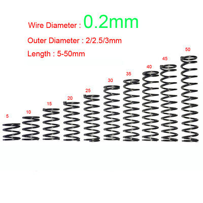 Spring Steel Compression Spring 0.2mm Wire Dia. x 2-3mm Outer Dia.Various Length
