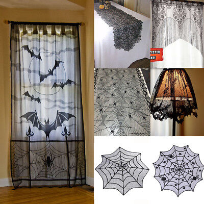 Halloween Lace Spider Web Tablecloth Fireplace Table Topper Covers Party Decor (Halloween Decorations)