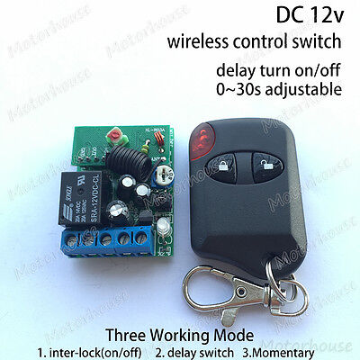 DC12V RF Wireless Remote Relay Control Switch Adjustable Delay Time Timer Module ()