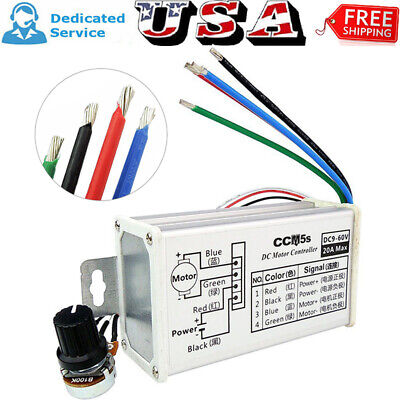 New Max 20a Pwm Dc Motor Stepless Variable Speed Switch Controller 12v 24v 60v