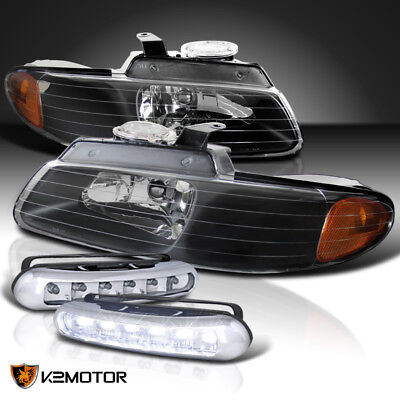 1996-2000 Caravan Chrysler Town & Country Voyager Black Headlights+LED Fog Lamps
