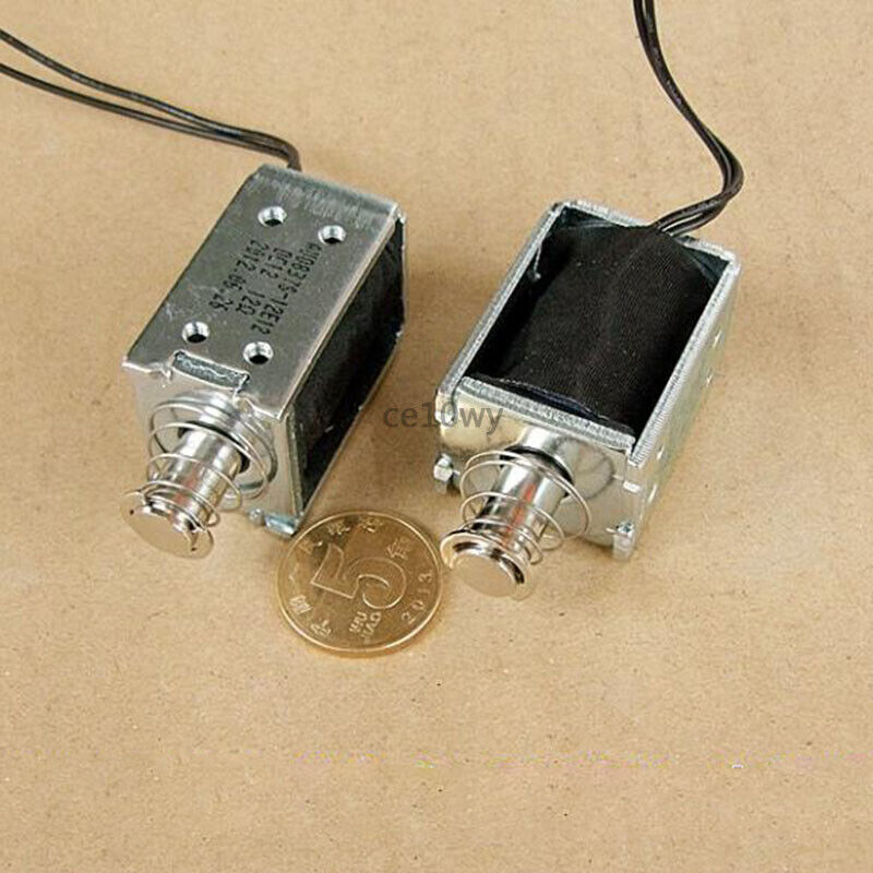 DC 12V Solenoid Electromagnet 10mm Push Pull Open Frame Type Electric Magnet