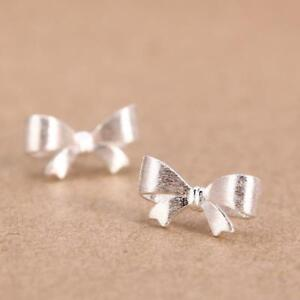 Girls Women 925 Sterling Silver Bow Crystal Rhinestone Ear Stud Vintage Earrings