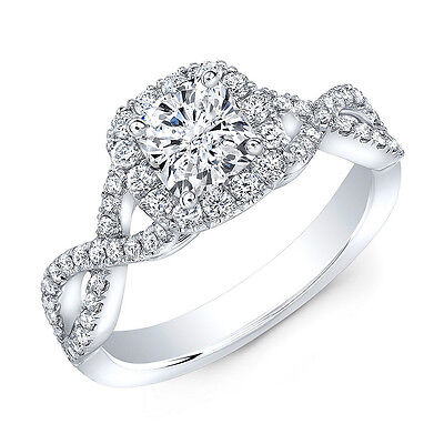 1.30 ct. Brand New Cushion Cut Infinity Style Halo Engagement Ring GIA Certified