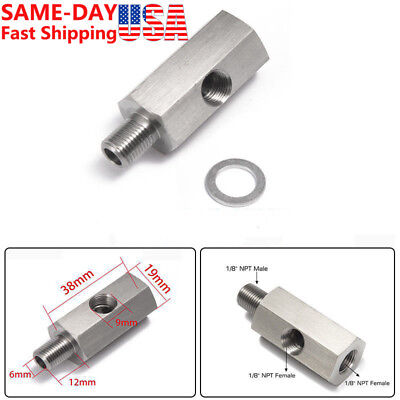 - Stainless 1/8'' NPT Oil Pressure Sensor Tee - NPT Adapter Turbo Supply Feed Line