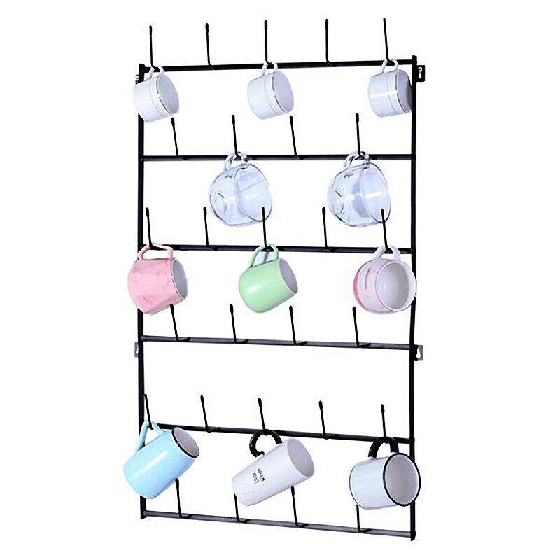 6-Tier Wall Mounted Home Storage Mug with Hooks Display Orga