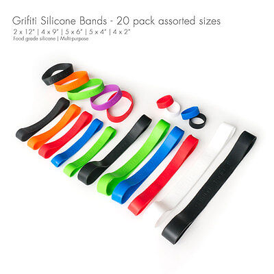 Grifiti Band Joes 2 4 6 9 12 Inch Assorted Standard 20 Pack Silicone Rubber
