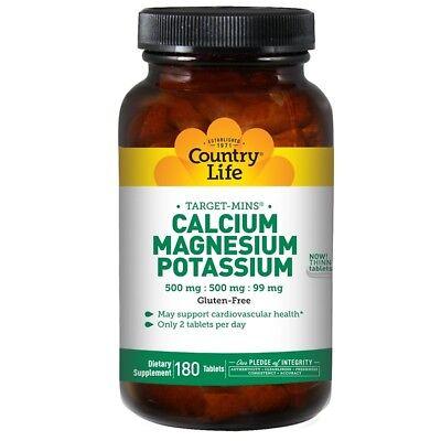 Country Life, Calcium, Magnesium, and Potassium, 500 mg : 500 mg : 99 mg, 180